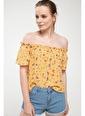 DeFacto Karmen Yaka Çiçek Desenli Bluz Sarı